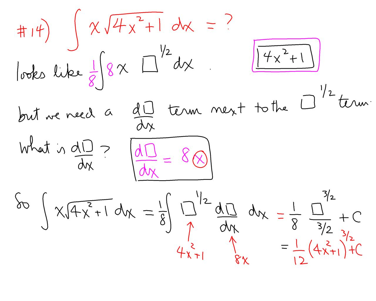 integral substitution how to choose